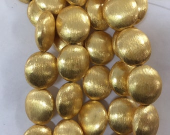 16mm coin brushed, gold plated copper beads, 12beads