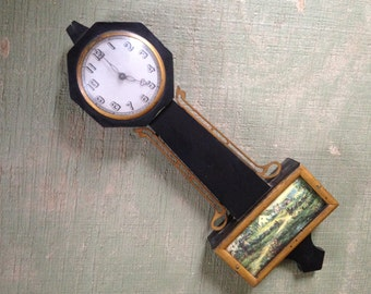 Antique Banjo Wall Clock with Country Farm Scene, Not working