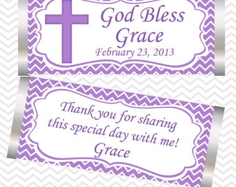 Cross Purple Baptism Christening First Holy Communion - Personalized Candy Bar Wrapper