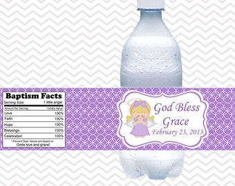 Kneeling Angel Girl Purple Baptism Christening First Holy Communion  - Personalized water bottle labels - Set of 5  Waterproof labels