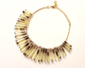 Dramatic Banded Citrine Statement Necklace
