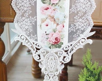 Free Shipping Handmade Wedding Flower Tableware Topper Table Runner,Embroidery&Lace 23cm(W)
