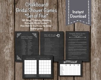 Chalkboard Bridal Shower Games//Scattergories//Bingo//Celebrity Matching//Romantic Quotes//Know the Bride//Instant Download
