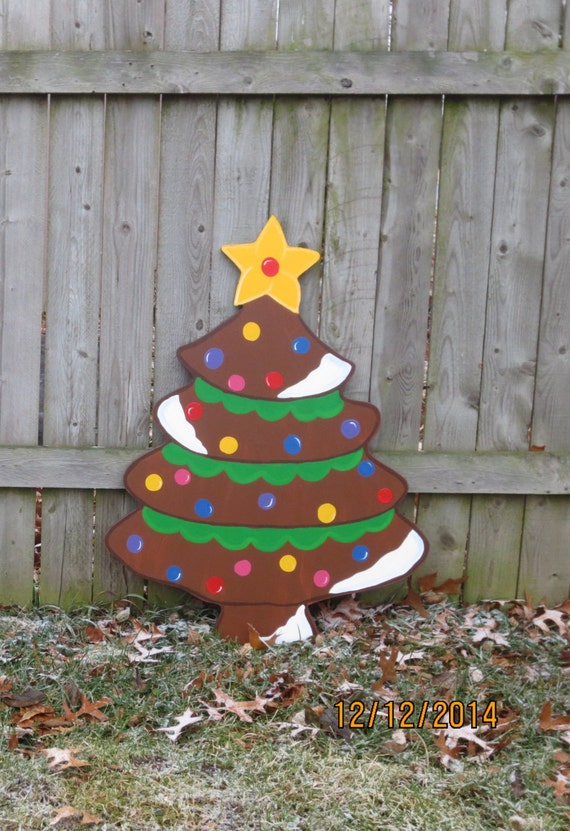 Christmas gingerbread tree wood outdoor yard by for Gingerbread house outdoor decorations