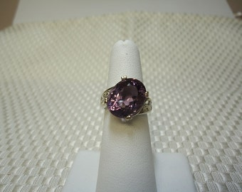 Oval Cut Color Change Amethyst Ring in Sterling Silver   #1318