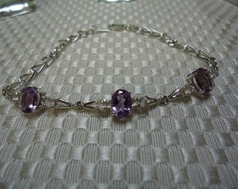 Amethyst and Rose Quartz Bracelet in Sterling Silver  #1415