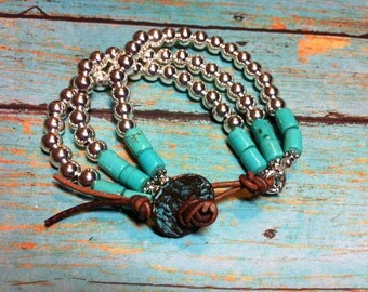 Silver and Turquoise Triple Strand Bracelet, Western, Turquoise and Leather