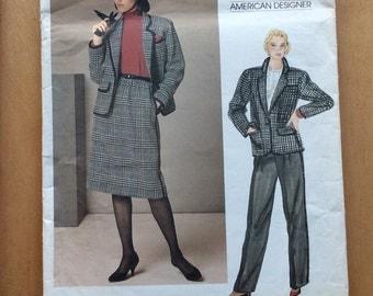 Vogue Calvin Klein Jacket, Skirt and Pants Pattern, Vogue 1238, Vogue American Designer Pattern, Uncut, 1980s Suit Pattern
