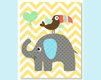 Nursery Art Prints, Elephant Nursery, Baby Boy Nursery Prints, Safari, Jungle, Nursery Wall Decor, Chevron, Yellow Grey nursery, Kids Decor