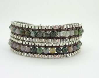 2 Wrap Agate Beaded silver plate Metal Chain Leather Bracelet