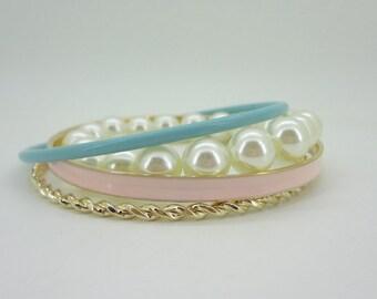 Candy Arm Set Pink Blue and Gold Tone pearl Strand Bangle Bracelets Set