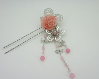 Lovely Silver plate butterfly flowers pink resin tassel hairpin  hair accessory