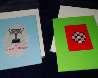 pair of football themed greetings cards