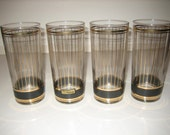 Culver Ltd. Black and Gold Vertical Stripe HiBall Glasses