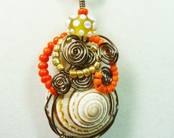 Wire Wrapped Shell Necklace, Antiqued Shell Necklace, Bead and Wire Wrapped Shell Pendant, Orange Shell Necklace