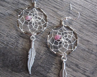 Dream Catcher Earrings ~ Silver with Pink Tourmaline Gemstones