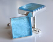 Recycled Bombay Sapphire Gin Bottle Cufflinks - Brilliant Blue Glass - Silver Plated