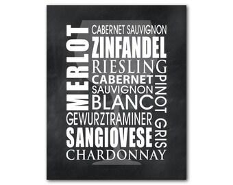 Wine Typography Art - Wine Names - Kitchen Wall Art - Wine Art - Word Art Print - Chardonnay - Merlot - chalkboard vintage distressed