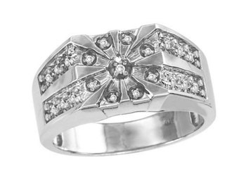 Mens Ring 0.25 CTW Diamond Starburst Sterling Silver or Gold Plated Silver Starburst Ring