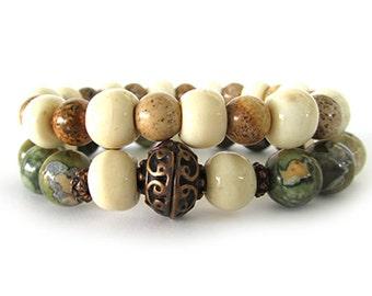 Rhyolite and Bone Women's Bracelet Stack - Beaded Stretch Bracelets - Boho Bracelets - Gemstone Bracelets - Bracelets for Women - WS4636