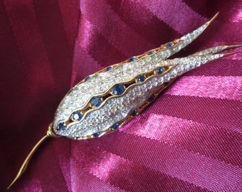 Stunning Vintage Floral Brooch by Joseph Mazer with Blue Swarovski Rhinestones