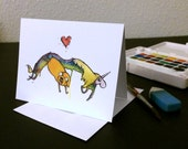 Valentine's Day Card Lady Rainicorn and Jake  Blank Card / watercolor painting print / nerd geek girl guy dork Adventure Time