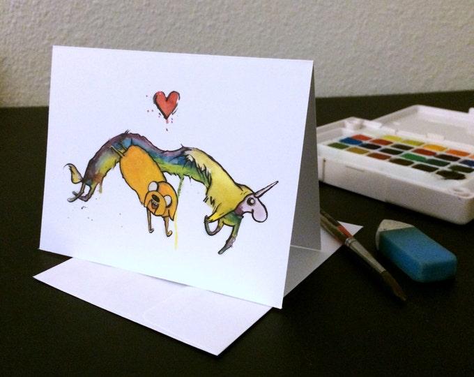 Valentine's Day Card Lady Rainicorn and Jake  Blank Card / watercolor painting print / nerd geek girl guy dork Adventure Time