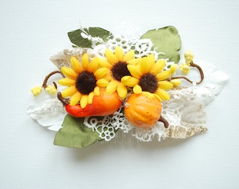 Sunflowers Bridal Hair Comb, Fall Weddings Hair Accessories, Bride Bridesmaids Headpiece, Rustic  Farm Weddings, Pumpkin, Yellow Orange
