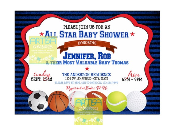 all star baby shower invitation all sports baby shower invitation