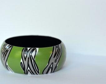 Hand Painted Green Black and Grey Bangle Bracelet