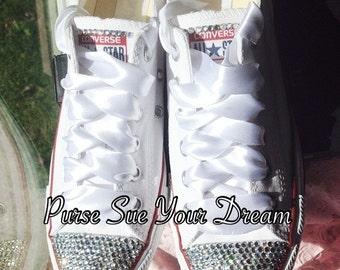 Bridal Custom Shoes - Swarovski Crystal Wedding Shoes - Pearl and Rhinestone Converse - Bride Shoes - Wedding Cnnverse