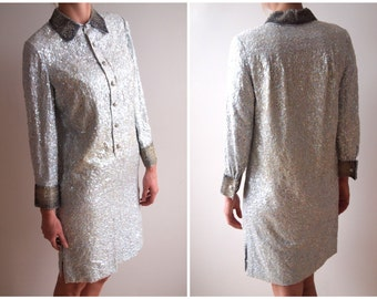 vintage sequined collared shirt dress