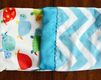 Blue Chevron and Turtle Minky Baby Blanket