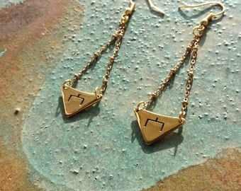 """Hobo symbol """"Here is the place"""" Lost-wax brass earrings"""