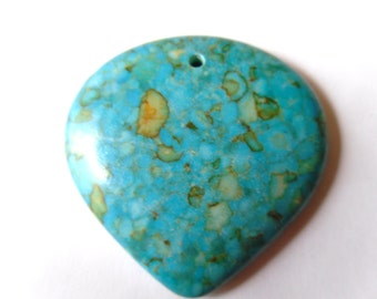Upside Down Teardrop Mosiac Turquoise Pendant 40mm    -LD2-3