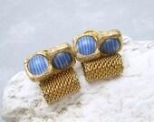 Vintage Mesh Cufflinks Striped Art Glass Jewelry H671