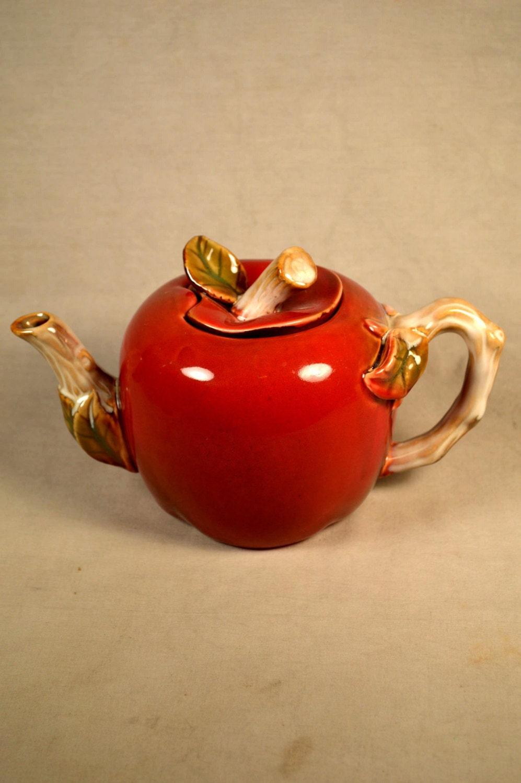 Apple Shaped Teapot Red Fruit Shape Majolica Ceramic