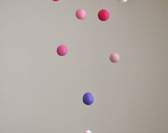 Nursery mobile Waldorf inspired needle felted : Girl with pink and purple balls