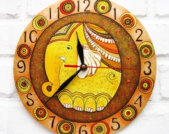 The Warm Elephant Wall Clock, Modern wall clock with numbers, wood clock, white home decor, kids gift, for Office, Kitchen style.