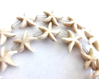 14 mm White Turquoise, Howlite and Gemstone Star Fish