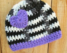 Baby Girl Hat, Zebra Baby Hat, Crochet Newborn Heart Hat, Baby Girl Purple  Beanie, Baby Photo Prop, Heart Beanie, Baby Skull Cap
