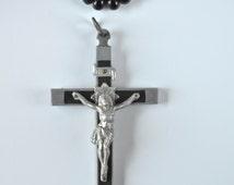 Antique Carmelite Nuns Large Black Wood Skull & Bones Pectorial Cross Crucifix  Souvenir 1920'  French Paris Catholic Virgin Mary Our Lady