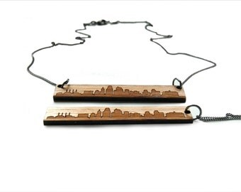 Kansas City Skyline Pendant Necklace - Etched Bamboo Kansas City Necklace