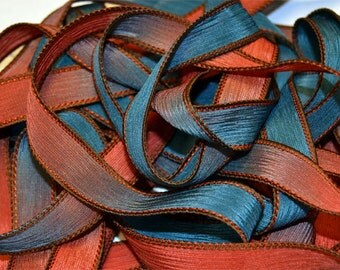 Roasted Peppers 42 inch silk ribbon, Silk Wrist Wrap Ribbons, By Color Kissed Singles