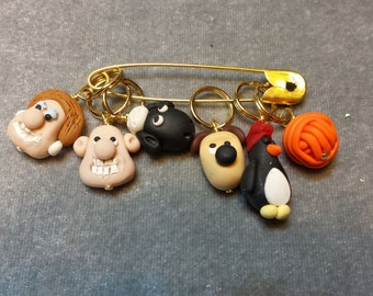 Stitch Markers Custom Order Wallace and Gromit for ShirleesMercantile   for Knit or Crochet set of 7 Cheese and Yarn Ball (blue)