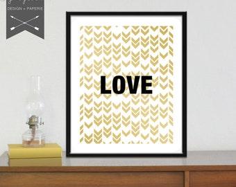 Geometric Print • LOVE • Gold Black White • Arrows • Home Decor • DIY printable