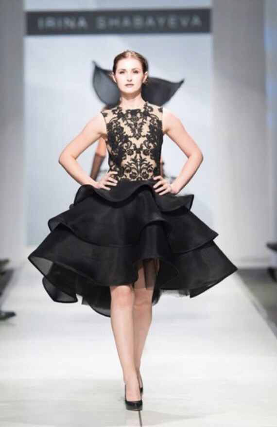 Irina Shabayeva black lace applique three tiered dress.