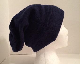 Slouchy fleece blue beanie, navy blue beanie, hipster beanie