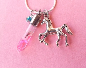 Name on Rice Necklace With Birthstone and Horse Charm