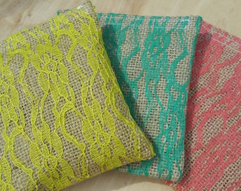 Burlap and Lace Gift Pouches, Re-useable, Sturdy....That perfect touch for giving a truly special gift!